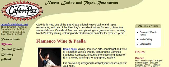 Café de la Paz Website
