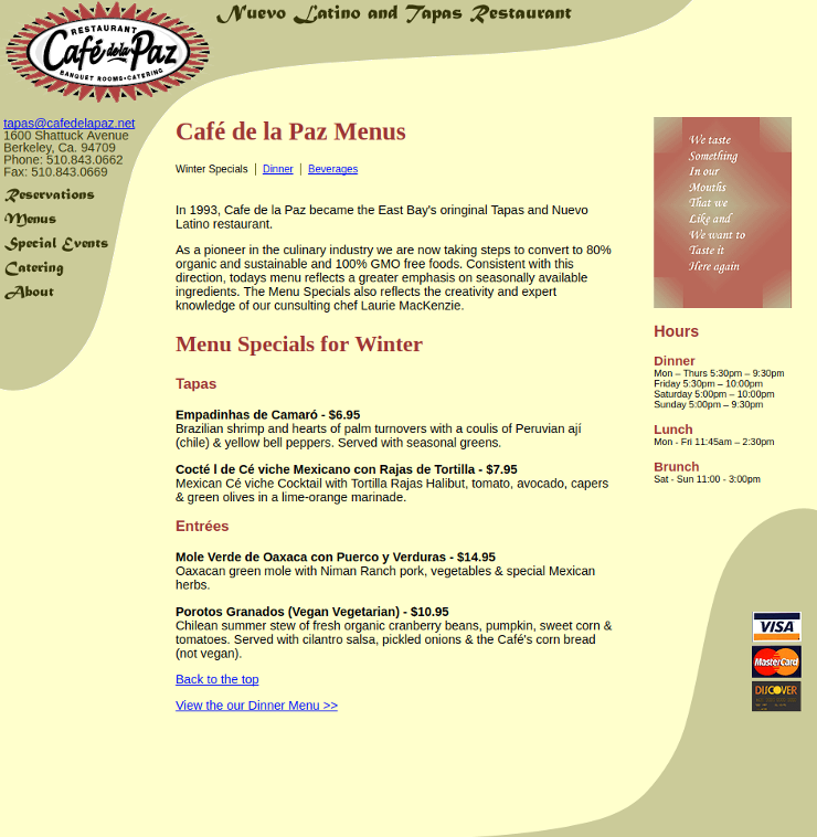 Menu page layout
