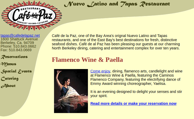 Cafe de la Paz Website