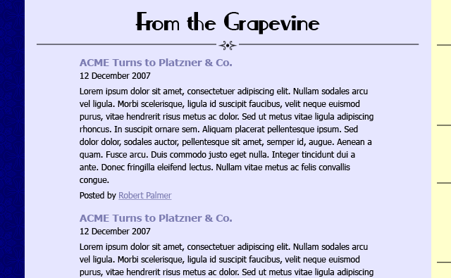 Home page detail of blog excerpts