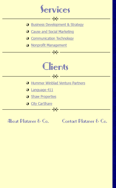 Home page detail of sidebar